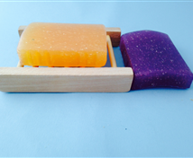 Wooden Soap Tray and Loofah Soaps